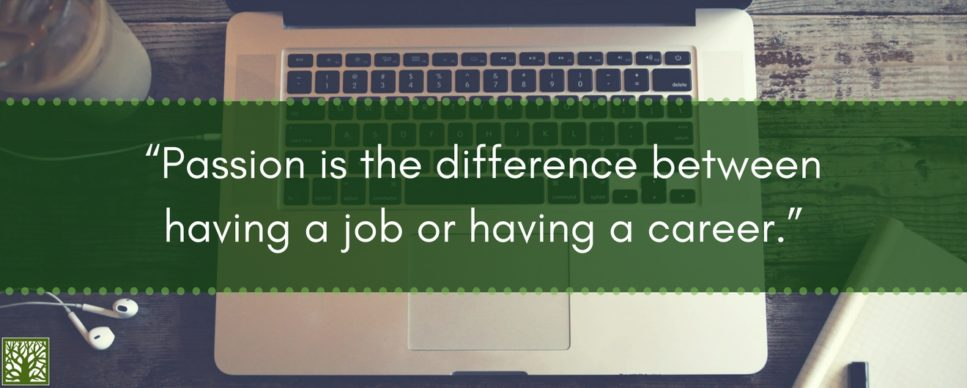 Passion is the difference between having a a job or having a career quote blog post image