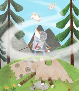 Argyle Fox book interior image of a fox in a knight outfit next to a fallen castle