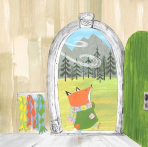 Argyle Fox book interior image of fox dressed in an argyle scarf walking outside into a windy forest